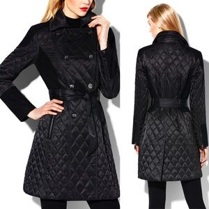 Vince Camuto Long Black Quilted Coat, size M